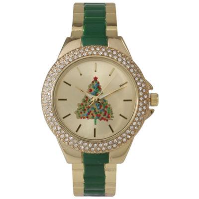 Olivia Pratt Holiday Womens Green Strap Watch-15272xgreentree
