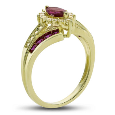 Womens Lab-Created Ruby & Lab-Created White Sapphire 14K Gold Over Silver Cocktail Ring