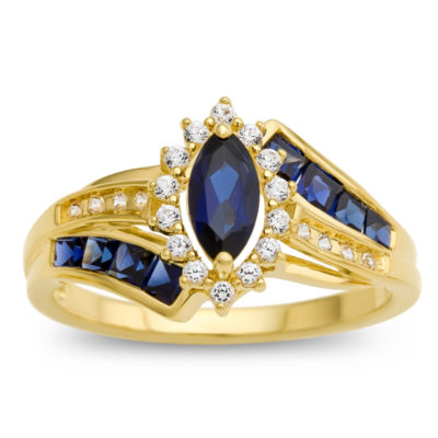 Womens Blue & White Lab-Created Sapphire 14K Gold Over Silver Cocktail Ring