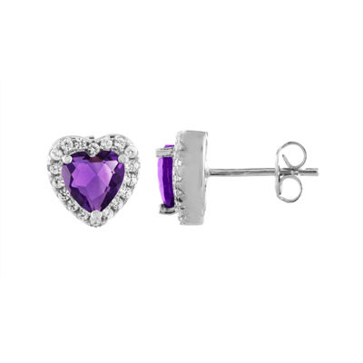 Lab Created Purple Amethyst Sterling Silver Heart Stud Earrings