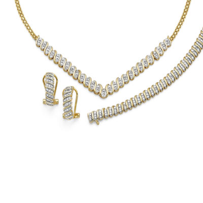 1 C.T. T.W. Diamond 14K Gold Over Brass 3-pc Jewelry Set