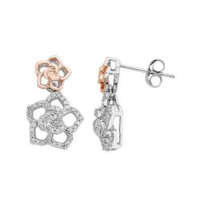 Enchanted Disney Fine Jewelry 1/4 CT. T.W. White Diamond Sterling Silver & 14K Rose Gold over Silver Drop Earrings