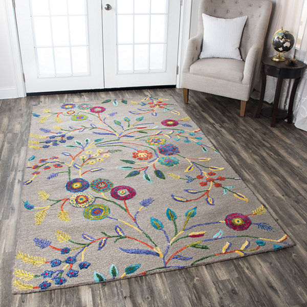 Rizzy Home Eden Harbor Collection Leah Floral Rectangular Rugs