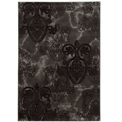 Jewel Collection Damask Power Loomed Rug