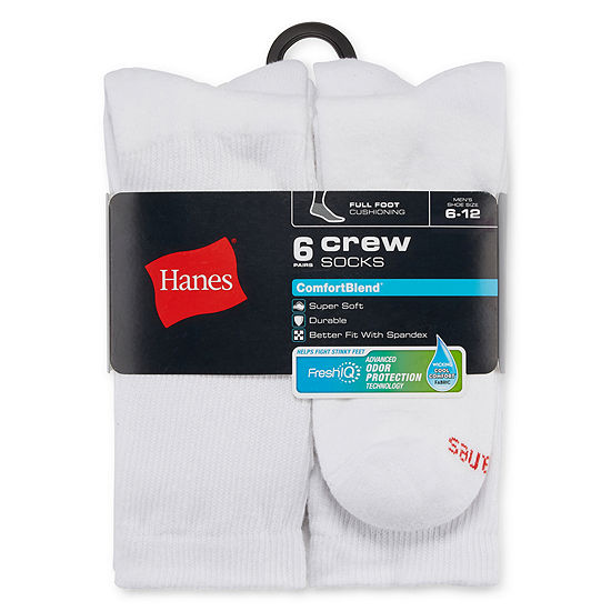 Hanes Mens 6 Pk Comfortblend Full Cushion Crew Socks