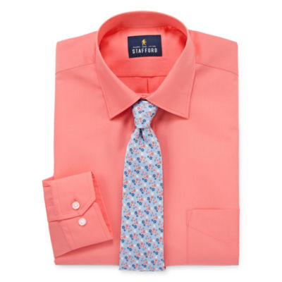 Stafford Stafford Travel Easy-Care Big And Tall Shirt + Tie Set