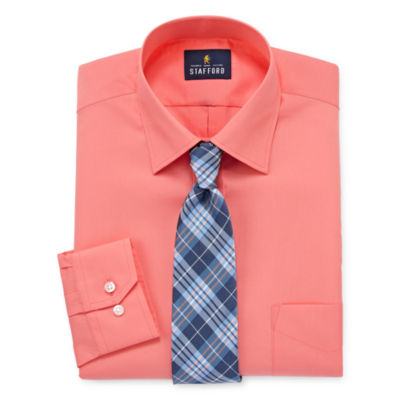 Stafford Stafford Travel Easy-Care Big And Tall Shirt + Tie Set
