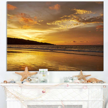 Design Art Amazing Beach With Beautiful Breaking Waves Modern Beach Canvas Art Print