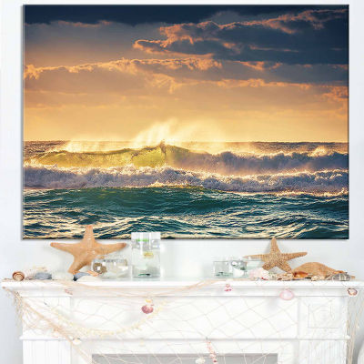 Designart Sunrise And Shining Waves In Ocean Seascape Canvas Art Print