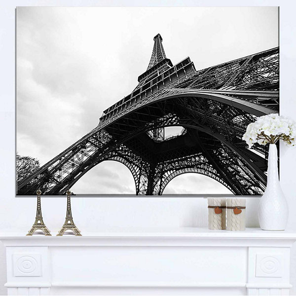 Design Art Paris Eiffel Tower in Black And White Side View Cityscape Canvas Print