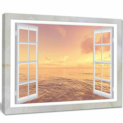 Designart Open Window To Brown Seashore Canvas Art