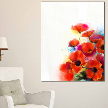 Design Art Bunch Of Watercolor Poppy Flowers Canvas Wall Art