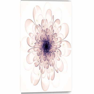 Designart Perfect Glowing Fractal Flower In PurpleCanvas Art Print