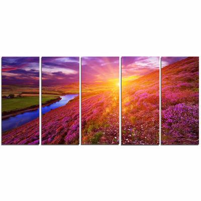 Designart Colorful Scottish Mountains Landscape Photography Canvas Art Print - 5 Panels