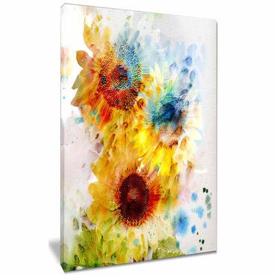 Designart Expressive Sunflowers Watercolor CanvasArt Print