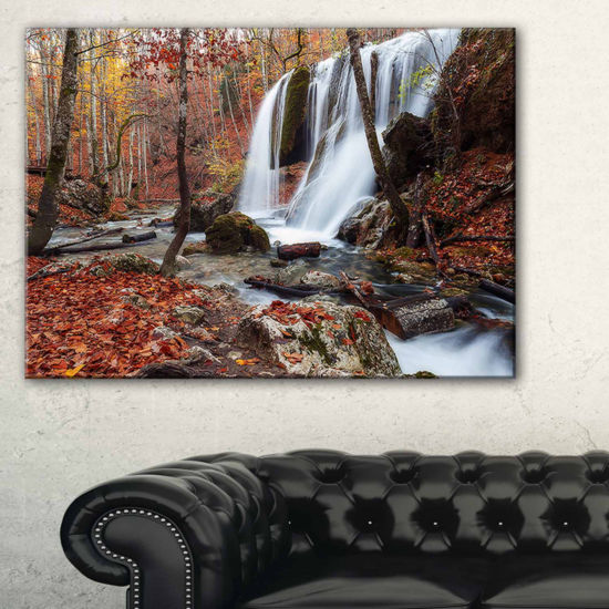 Designart Crimea Waterfall In The Fall Landscape Photo Canvas Art Print