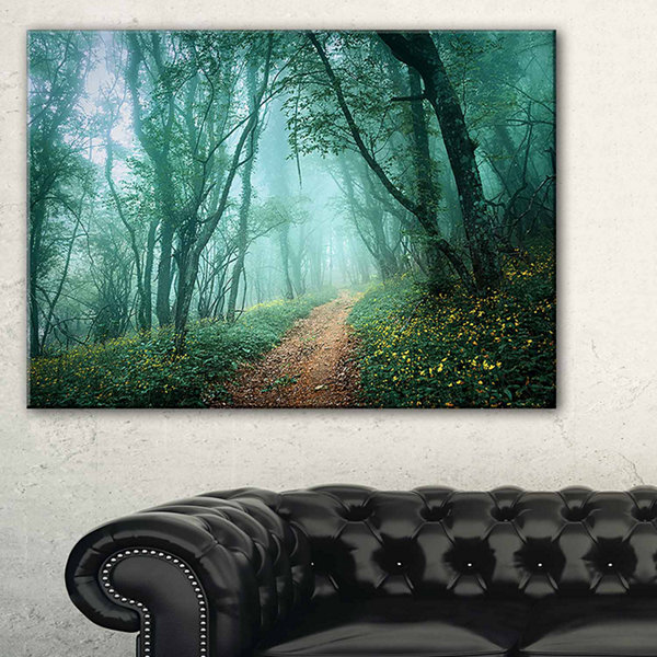 Designart Light Green Mystical Fall Forest Landscape Photography Canvas Print