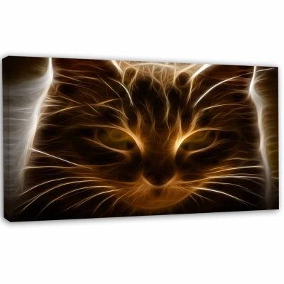Designart Glowing Fractal Cat Illustration AnimalCanvas Wall Art