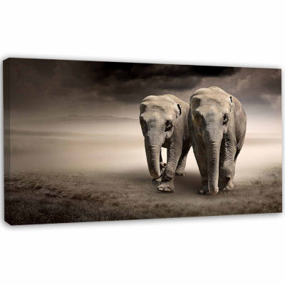 Designart Elephant Pair In Motion Animal Canvas Wall Art