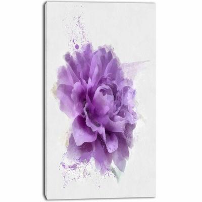Designart Purple Rose Watercolor Illustration Floral Canvas Art Print