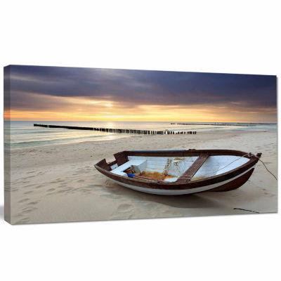 Design Art Boat On Beautiful Sunrise Seashore Beach Canvas Wall Art