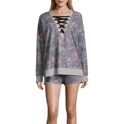 Long Sleeve Floral Lace Up Sweatshirt-Juniors