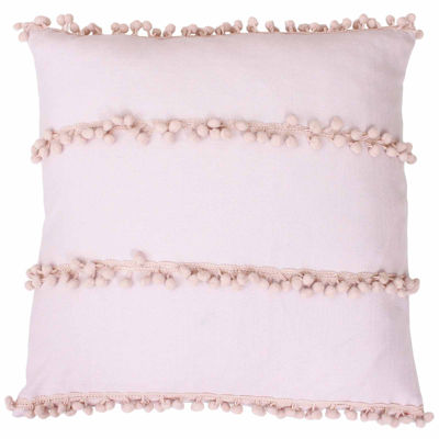 Thro by Marlo Lorenz Petrina Pom Pom Payton Faux Velvet Throw Pillow