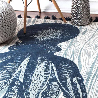 nuLoom Flat Woven Thomas Paul Collection Coastal Octopus Rug