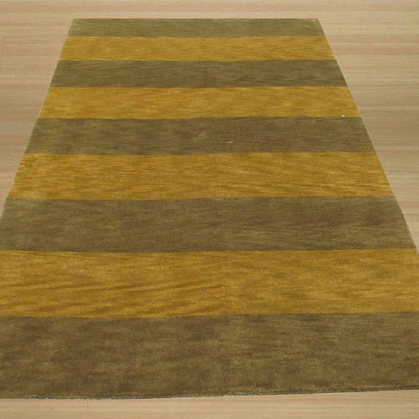 Eastern Rugs Hand-knotted Transitional Stripe Rug