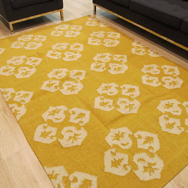 Eastern Rugs Handmade Contemporary Floral Flatweave Reversible Lily Rug