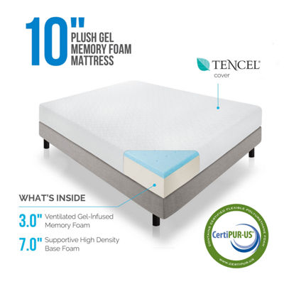 Lucid 10 Inch Plush Gel Infused Memory Foam Mattress
