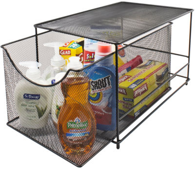 Sorbus Cabinet Organizer Drawers- Mesh Storage Organizer with Pull Out Drawers