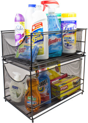 Sorbus Cabinet Organizer Set -Silver Mesh StorageOrganizer with Pull Out Drawers
