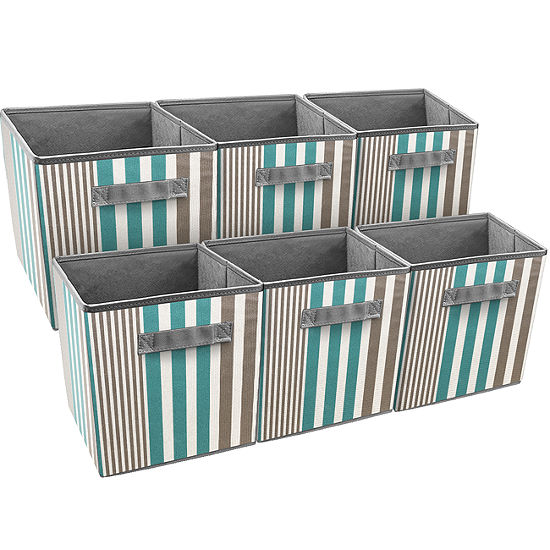 Sorbus Foldable Storage Cube Basket Bin 6 Pack Vertical Stripe Line Pattern
