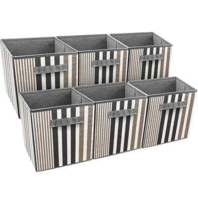 Sorbus Foldable Storage Cube Basket Bin Vertical Stripe Line Pattern