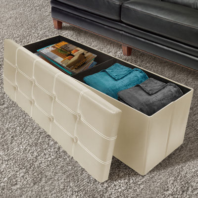 Sorbus Storage Bench Chest- Collapsible/Folding Bench Ottoman with Cover