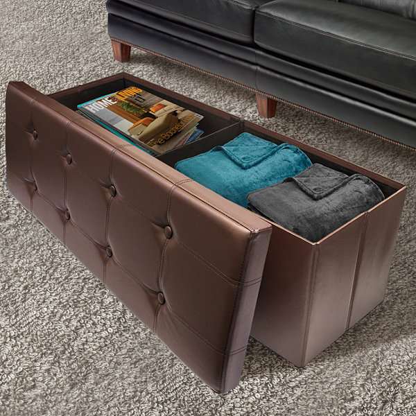Sorbus Leather Folding Storage Ottoman- Faux Leather Storage Bench