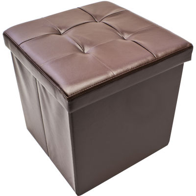Sorbus Foldable Storage Ottoman - Contemporary Faux Leather Ottoman with Cover