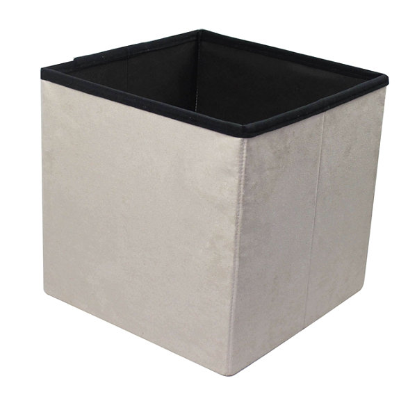 Sorbus Faux Suede Storage Ottoman Cube–Foldable/Collapsible with Button Lid Cover
