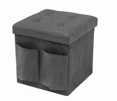 Sorbus Faux Suede Storage Ottoman Cube-Foldable/ Collapsible with Button Lid Cover