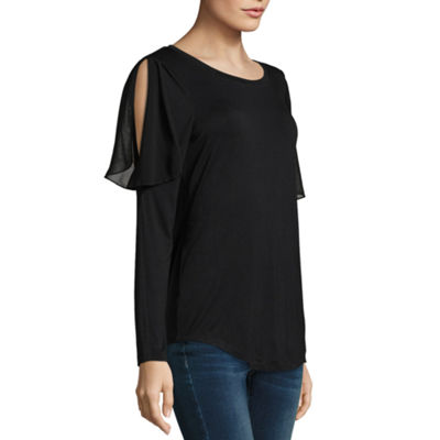 T.D.C Long Sleeve Ruffle Cold Shoulder Knit Top
