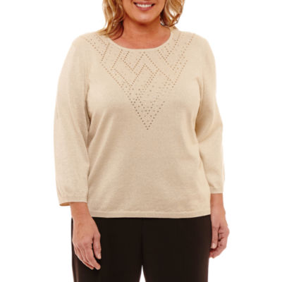 Alfred Dunner Fall Classic Sweaters Long Sleeve Crew Neck Pullover Sweater-Plus