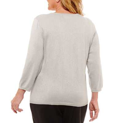 Alfred Dunner Fall Classic Sweaters Womens Crew Neck Long Sleeve Pullover Sweater-Plus