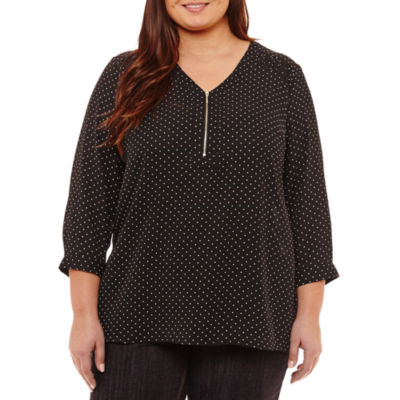 Liz Claiborne 3/4 Sleeve Zip Front Blouse- Plus