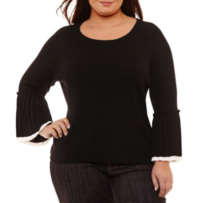 Liz Claiborne Pleated Sleeve Sweater- Plus