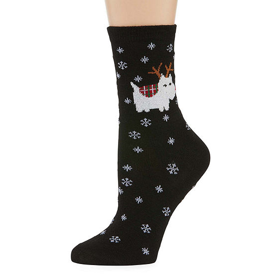 1Pr City Streets Holiday Crew Socks - Womens