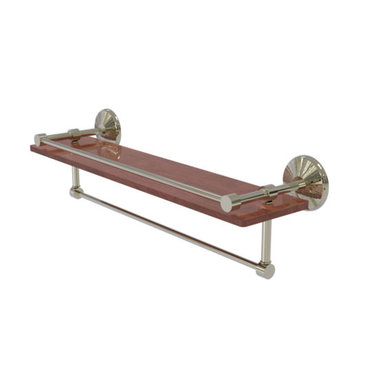 Allied Brass Monte Carlo Collection 22 IN Ipe Ironwood Shelf With Gallery Rail And Towel Bar