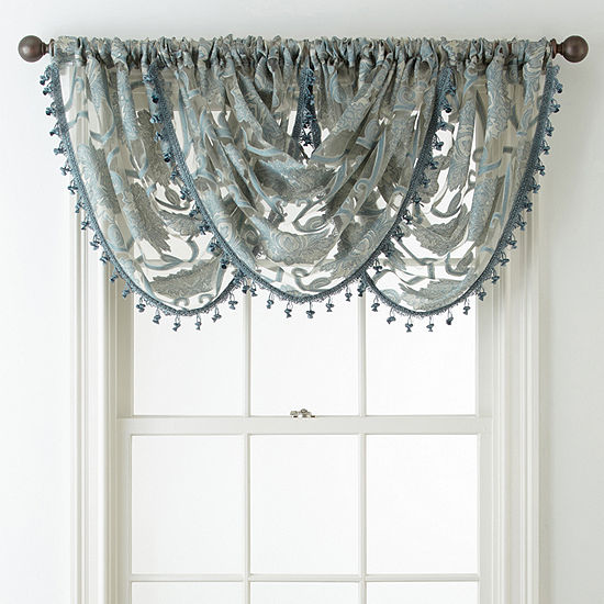 JCPenney Home Belgravia Rod-Pocket Waterfall Valance