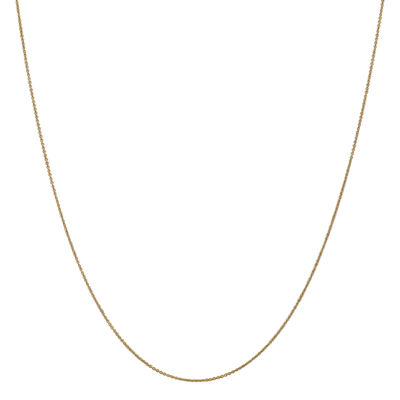14K Gold 14 Inch Solid Cable Chain Necklace