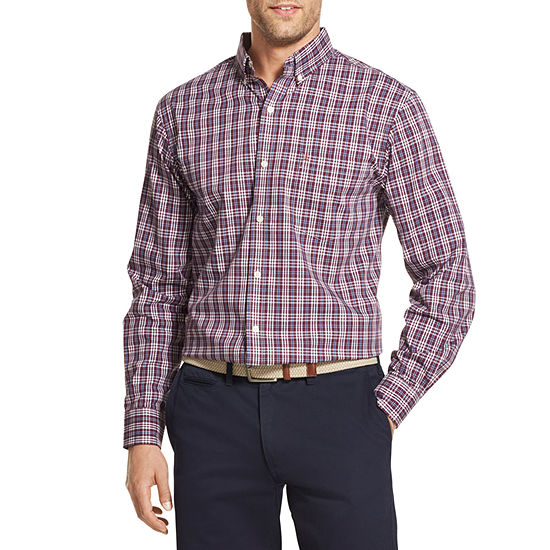 IZOD Premium Essential Wovens Mens Long Sleeve Button-Front Shirt Big and Tall
